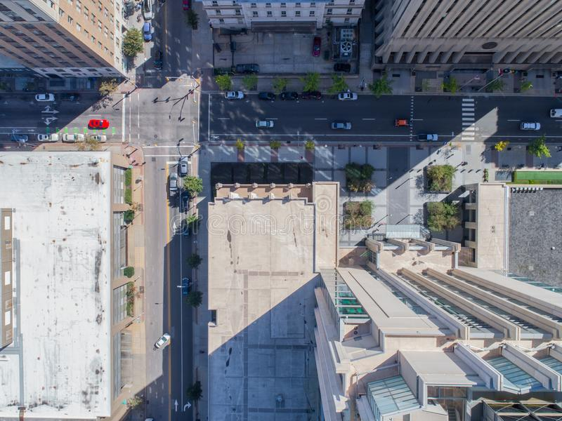 Opinião aérea do olho do ` s do pássaro do zangão da cidade de Raleigh, NC imagem de stock royalty free