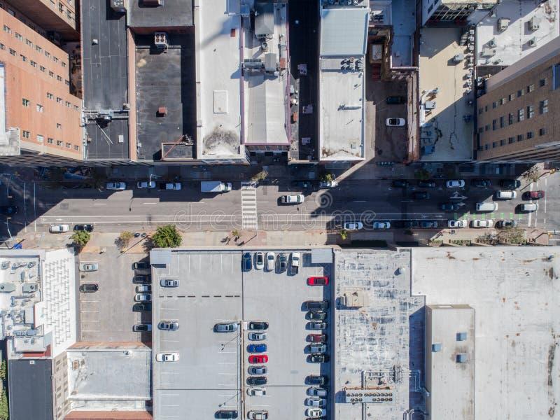 Opinião aérea do olho do ` s do pássaro do zangão da cidade de Raleigh, NC imagens de stock