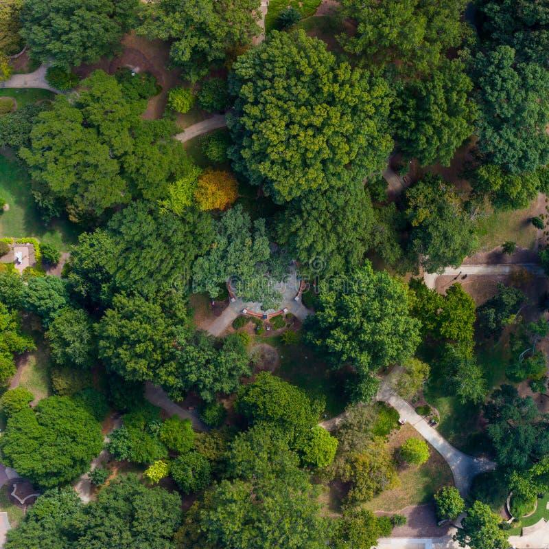 Opinião aérea do olho do ` s do pássaro do zangão Nash Square, Raleigh, NC fotografia de stock royalty free