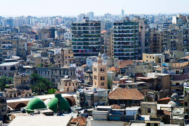 Opinião aérea do panorama à cidade de Tripoli, Líbano foto de stock