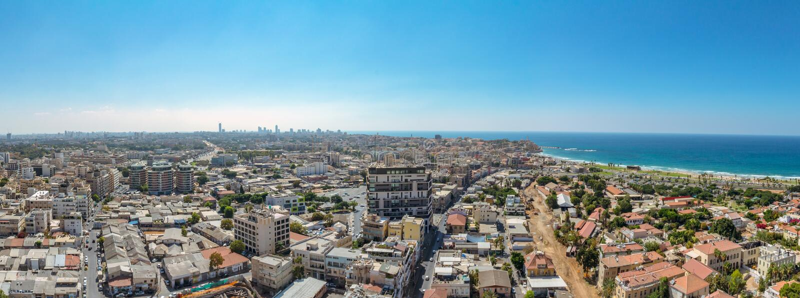Opinião aérea do panorama de vizinhanças sul de Tel Aviv e de Jaf velho fotografia de stock royalty free