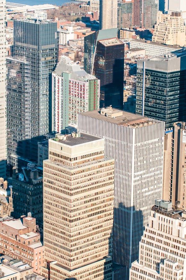 Opinião aérea do panorama do Midtown de New York City Manhattan com skyscr fotos de stock