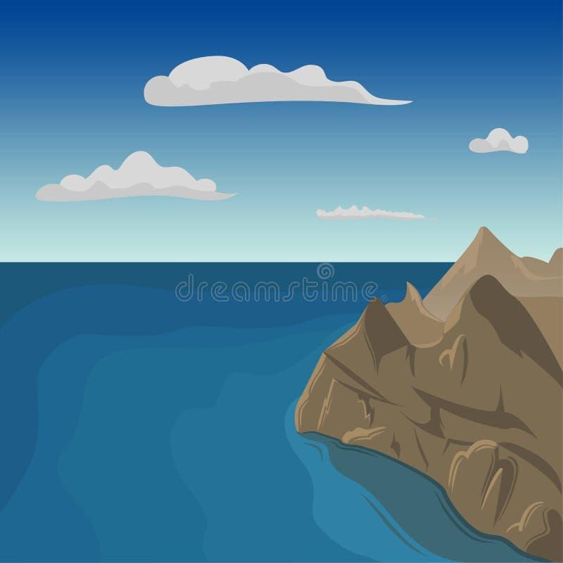 Opinião aérea do penhasco do mar Ilustração do vetor do beira-mar ilustração royalty free