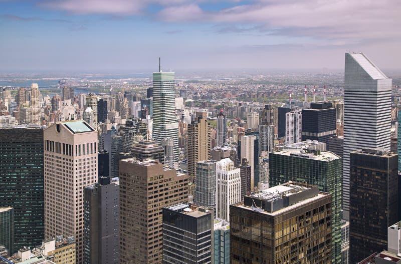 Opinião aérea do por do sol de New York City imagens de stock royalty free