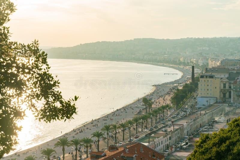 Opinião aérea do por do sol da baía do anjo famoso, agradável fotografia de stock royalty free