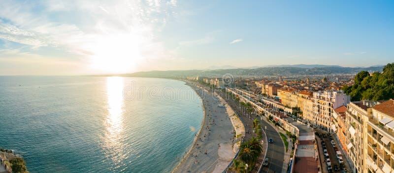 Opinião aérea do por do sol da baía do anjo famoso, agradável fotografia de stock