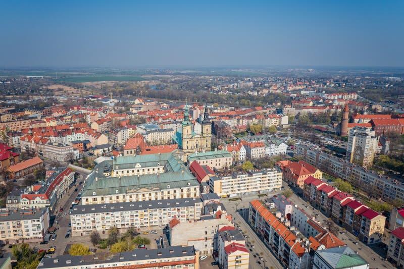 Opinião aérea do zangão na praça da cidade de Legnica foto de stock royalty free
