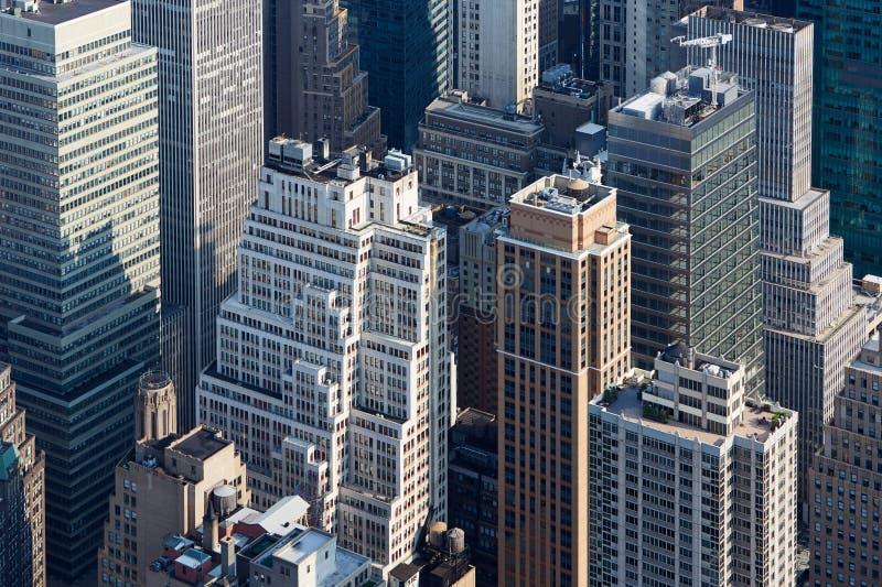 Opinião aérea dos arranha-céus de New York City Manhattan na manhã imagens de stock royalty free