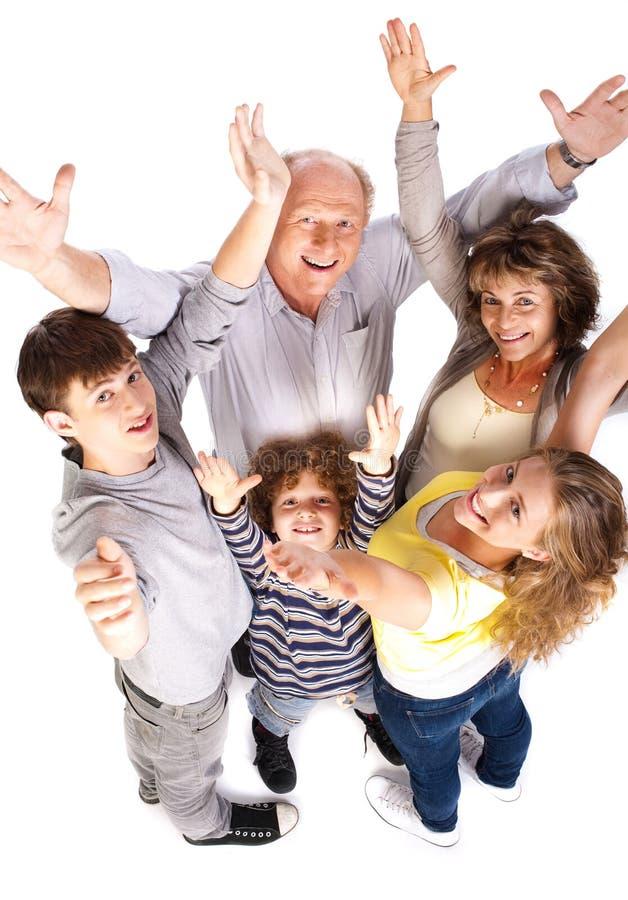 Opinião aérea a família alegre fotos de stock royalty free