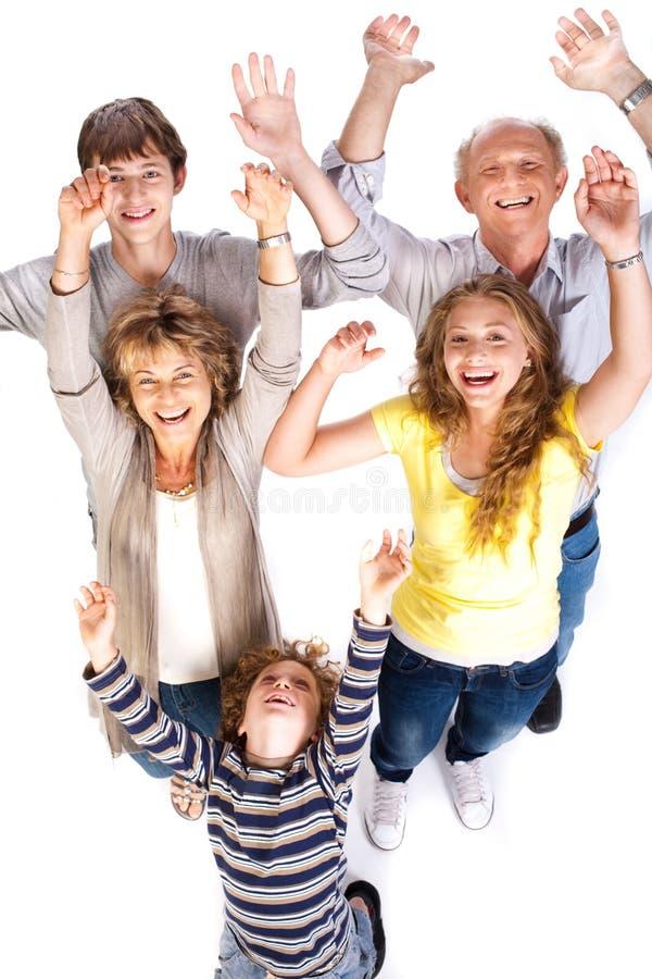 Opinião aérea a família alegre fotos de stock