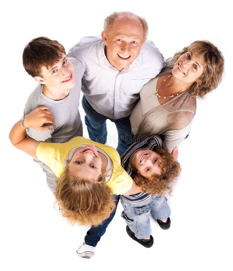 Opinião aérea a família feliz imagens de stock royalty free