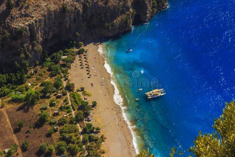 Opinião aérea Kelebekler Vadisi de Butterfly Valley, Mugla, Turquia imagem de stock royalty free