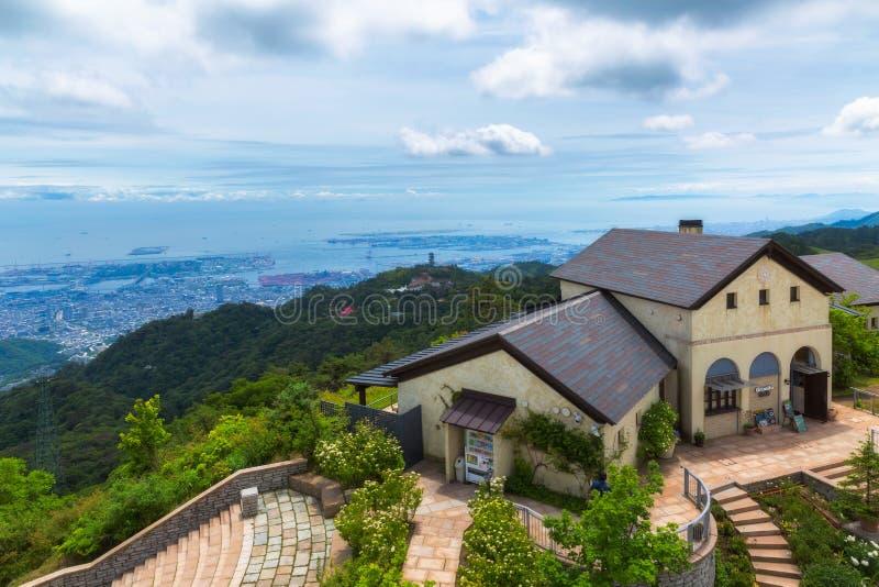 Opinião aérea Kobe City em Rokko Garden Terrace foto de stock royalty free