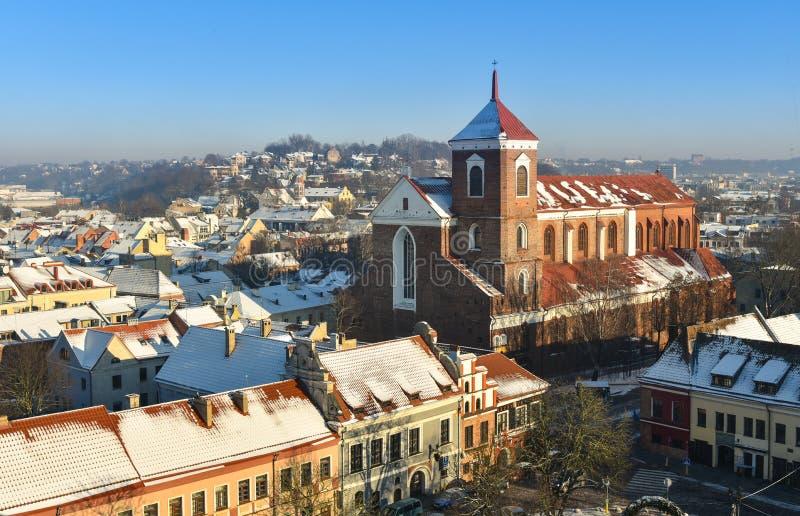 Opinião aérea Lituânia de Kaunas imagem de stock royalty free