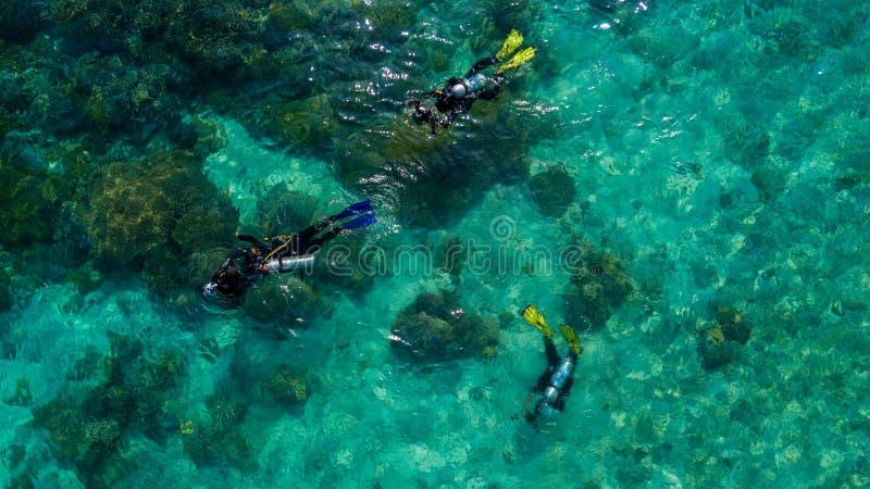 A opinião aérea os mergulhadores prepara-se para mergulhar no meio do mar fotos de stock royalty free
