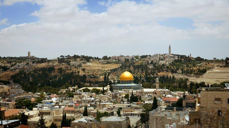 Opinião aérea panorâmico do Jerusalém foto de stock royalty free