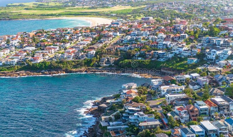 A opinião aérea Rob Walker Rock Pool e Maroubra encalham, Sydney, fotos de stock royalty free