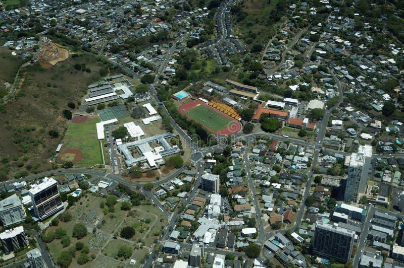Opinião aérea Roosevelt High School, Stevenson Intermediate Sch fotografia de stock
