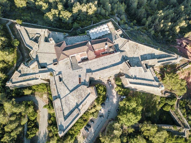 Opinião aérea Saint Philip Fortress em Setubal, Portugal fotografia de stock