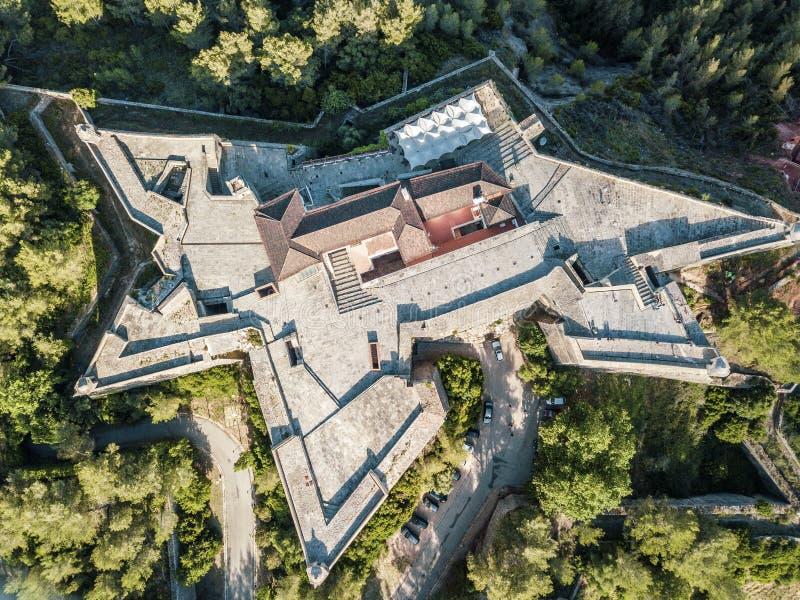 Opinião aérea Saint Philip Fortress em Setubal, Portugal imagem de stock