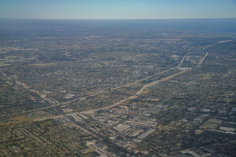 Opinião aérea Santa Fe Springs, Bellflower de Norwalkm, Downey, vi fotografia de stock royalty free