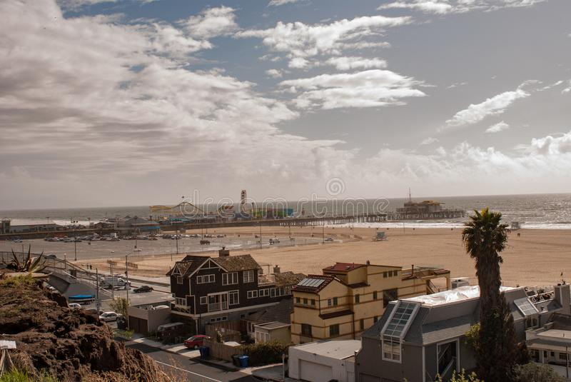 Opinião aérea Santa Monica Pier imagens de stock