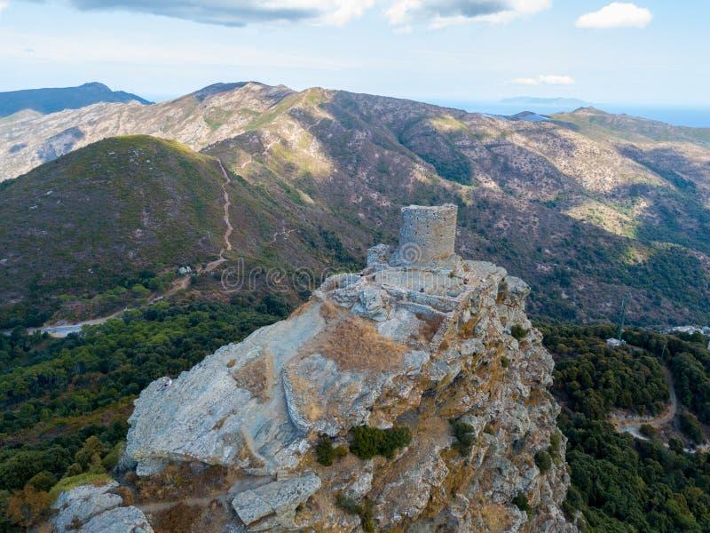 Opinião aérea Seneca Tower, Córsega, França foto de stock royalty free