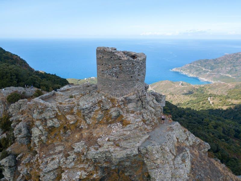 Opinião aérea Seneca Tower, Córsega, França fotos de stock