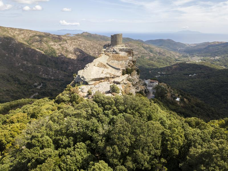 Opinião aérea Seneca Tower, Córsega, França imagens de stock