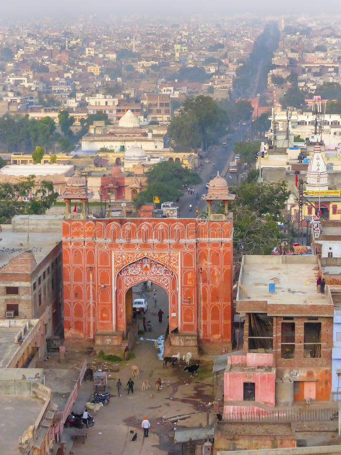 Opinião aérea Suraj Pol, Jaipur, Rajasthan, Índia fotos de stock
