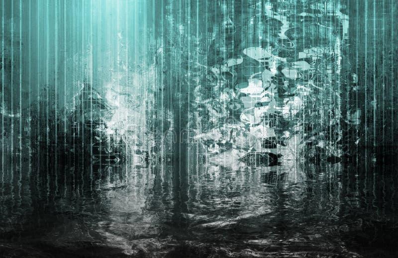 Opinião abstrata reconfortante surreal da cachoeira ilustração stock