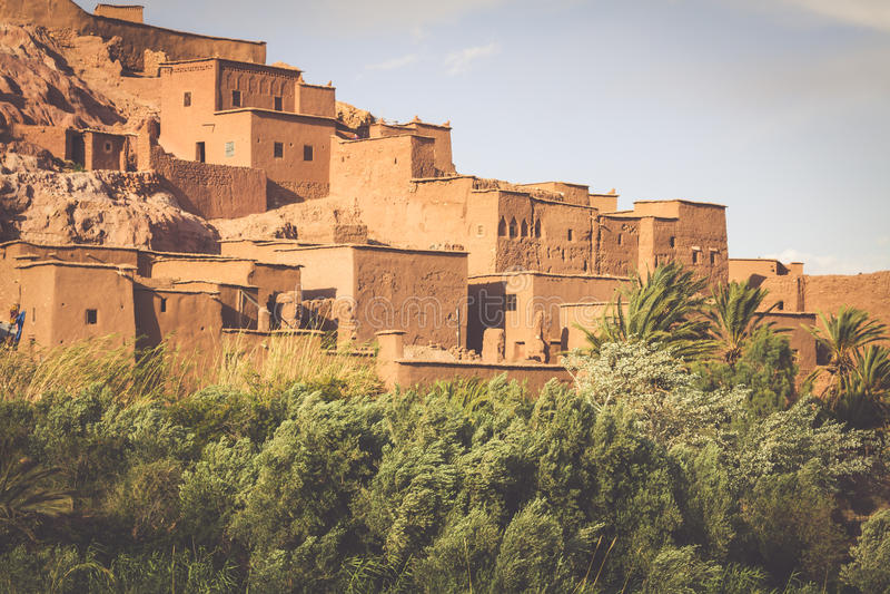 Opinião Ait Benhaddou Kasbah, Ait Ben Haddou, Ouarzazate, Morocc imagens de stock royalty free