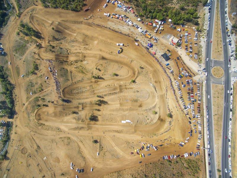 Opinião alta da pista do motocross de Esenkoy imagens de stock