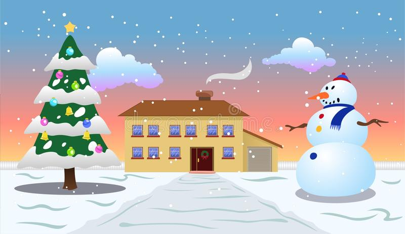 Opinião ao ar livre da manhã do Natal ilustração stock