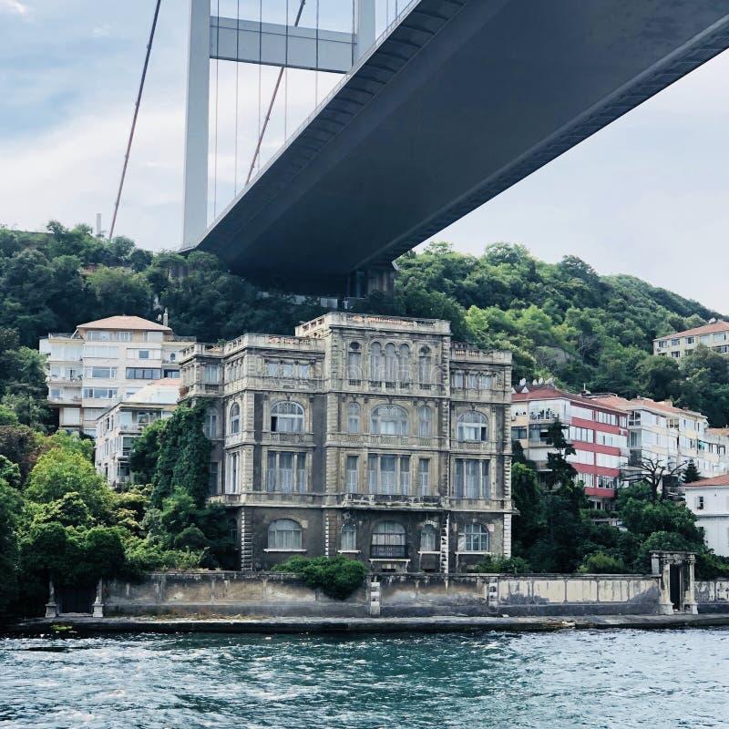 Opinião arquitetónica velha bonita da casa sob a ponte de Bosphorus fotos de stock