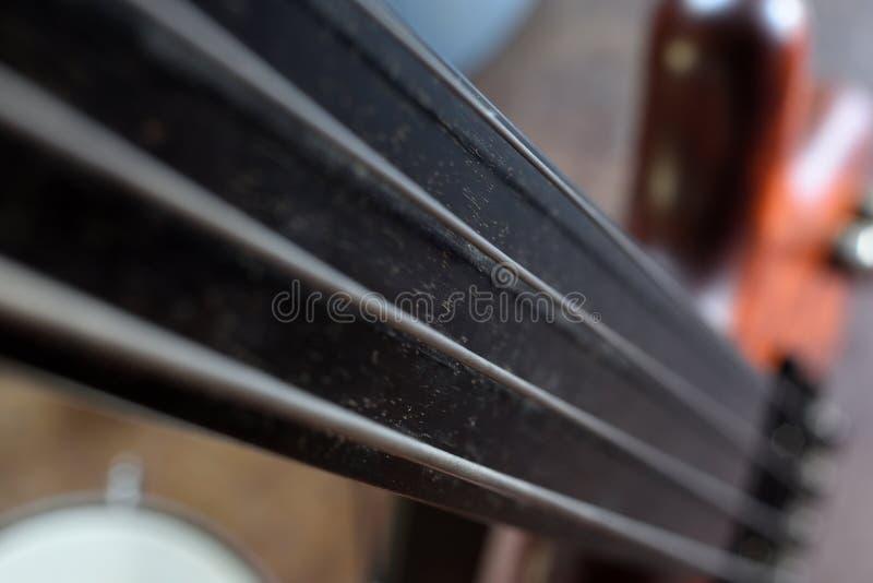Opinião ascendente próxima do ` de Bassllines II do ` da guitarra-baixo elétrica fretless do vintage fotografia de stock royalty free