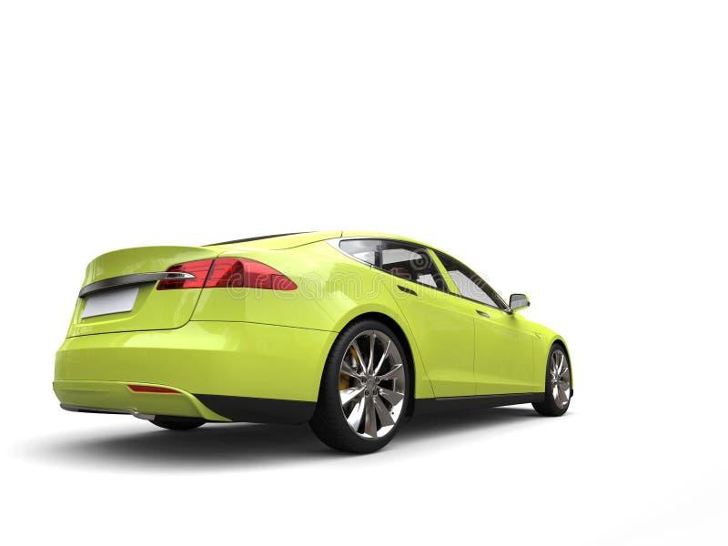 Opinião automobilístico da cauda dos esportes bondes modernos loucos do verde-lima ilustração do vetor