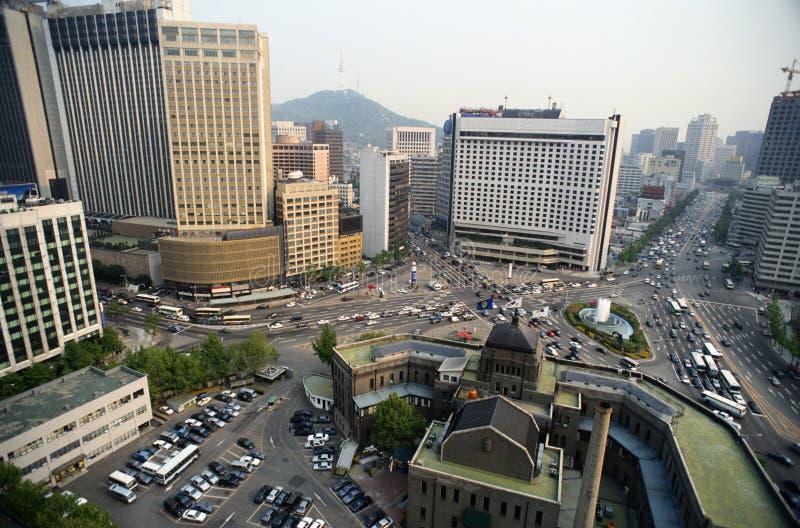 Opinião bird's-eye da cidade foto de stock