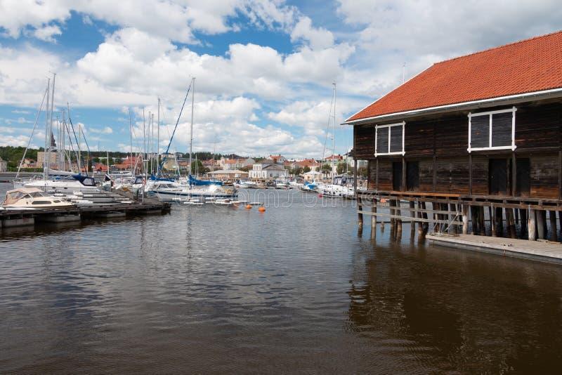 Opinião bonita da cidade de Hudiksvall na Suécia fotografia de stock