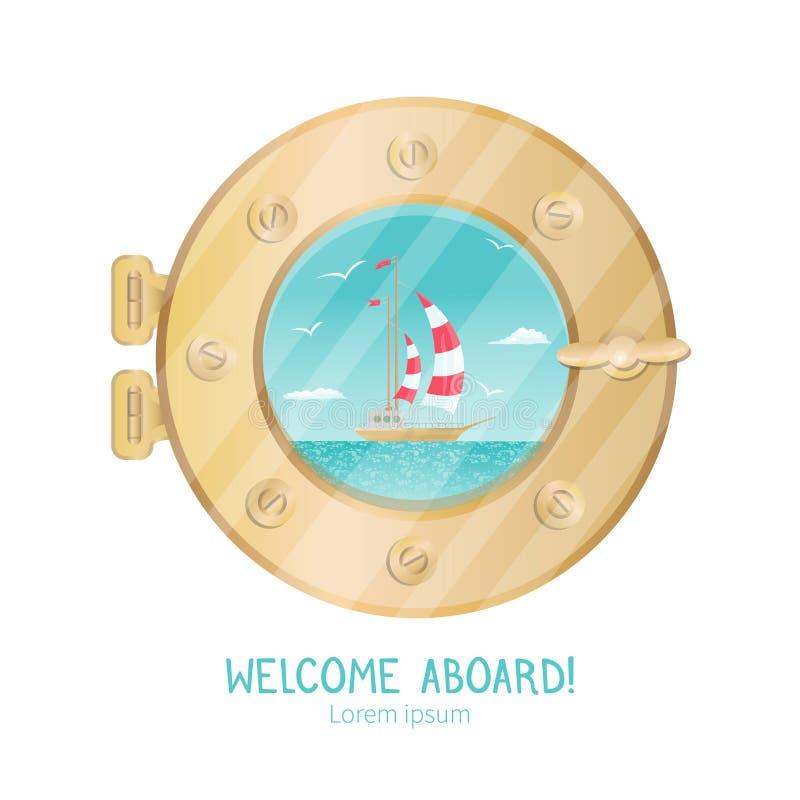 Opinião bonita da embarcação através da vigia no iate do cruzeiro ilustração do vetor