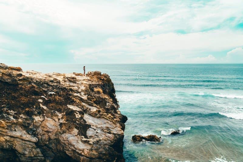 Opinião bonita da paisagem e do Seascape dos penhascos e do oceano em Portugal imagem de stock royalty free
