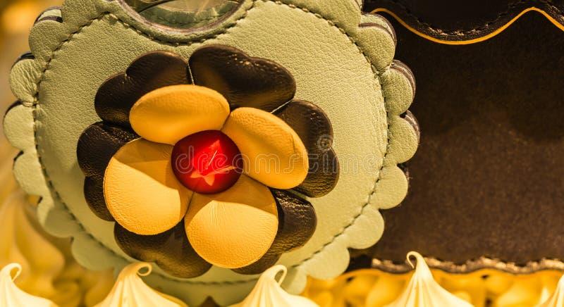 Opini?o bonita do close up da flor de couro do projeto fotos de stock