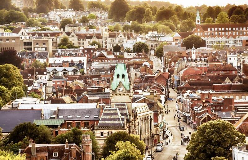 Opinião BRITÂNICA da cidade de Winchester foto de stock royalty free