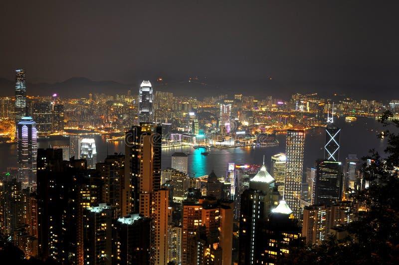 Opinião cénico da noite de Hong Kong foto de stock royalty free