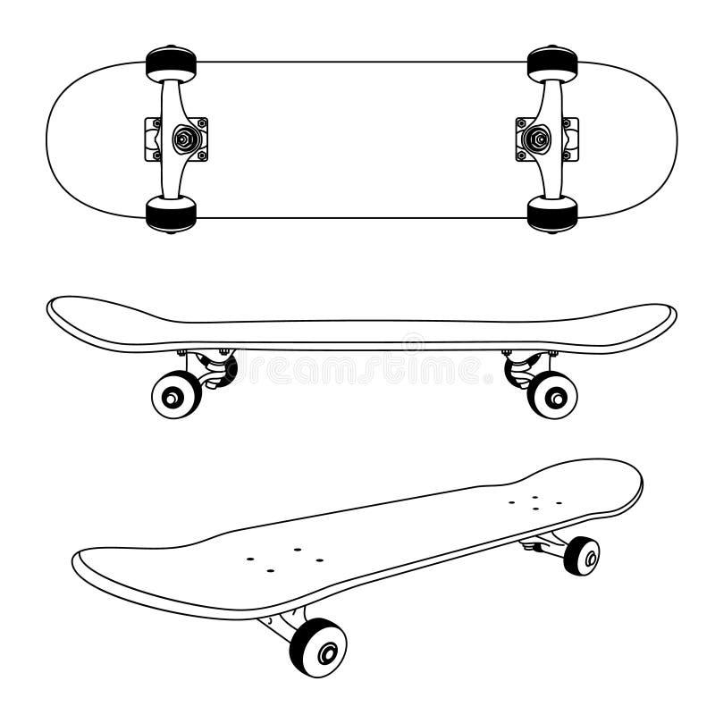 Opinião clássica do lado, parte inferior do skate e em um ângulo ilustração stock