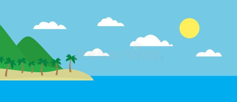 Opinião colorida dos desenhos animados da ilha tropical com a praia sob montes, ilustração royalty free