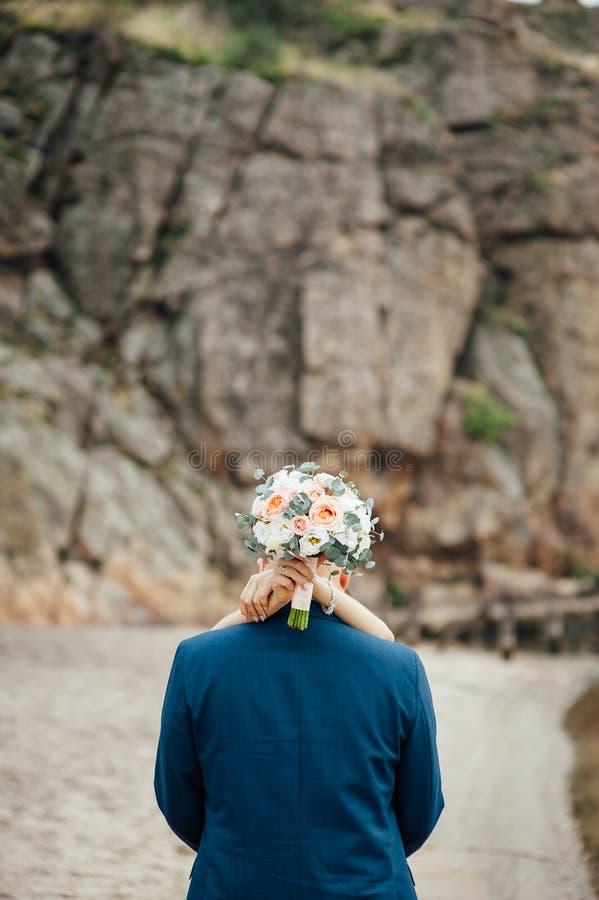 Opinião completo os recém-casados de aperto que estão nas montanhas imagem de stock royalty free