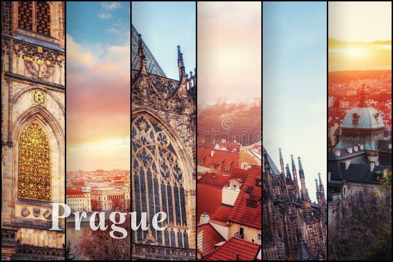 Opinião criativa da colagem dos monumentos arquitetónicos de Praga com foto de stock