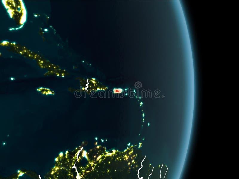 Opinião da órbita de Porto Rico na noite ilustração royalty free