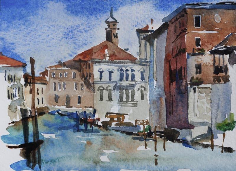 Opinião da aquarela da paisagem de Veneza em Grand Canal perto da academia, ele ilustração royalty free